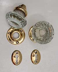 Antique Mortise Lock Complete, Restored, Glass Knobs  200-788