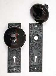 Mortise Lock Complete with Trim, Circa 1890, Ornate Plates & Jet Knobs  200-881