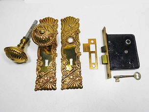 Restored Antique Mortise Lock Bronze Roanoke Trim, Complete  200-885