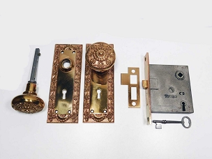 Restored Antique P & F Corbin Mortise Lock Set Bronze Parthenon Trim, Complete  200-886