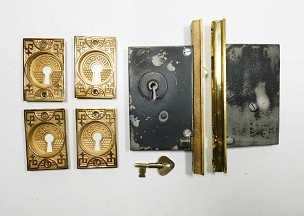 Antique Double Pocket Door Lock Set Cast Bronze Trim, Circa 1885   212-133