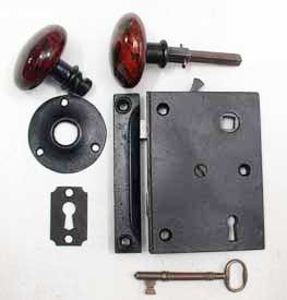 1842 Patent 5 Inch High Rim Lock, All Original  242-129