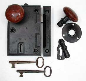 Restored and complete 6 Inch Entry Rim Lock, All Original, Late 1850's  245-308