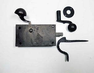 Antique Early 1800's  Wrought Iron Screw-off Handle Rim Latch  245-484
