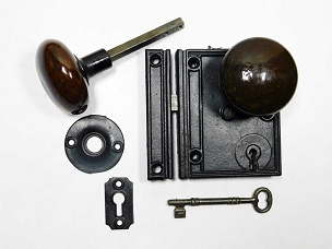 Restored Victorian Cast Iron Rim Lock, Penn Hardware,  245-489