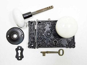 Late 1800's Ornate Cast Iron Rim Lock, Restored, Complete  245-498