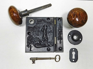Cast Iron Pioneer Scenic Rim Lock by R & E, Patented 1858  245-510