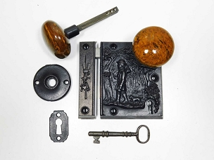 Cast Iron Pioneer Scenic Rim Lock by R & E, Patented 1858 245-512