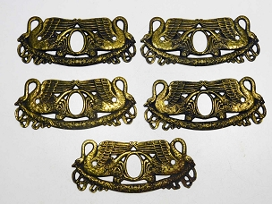 5 Striking Swan Motif Period Furniture Key Escutcheons, Brass, Patina, Circa 1810  445-217