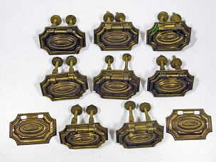 Set 8 Antique Very Small Hepplewhite Style Brasses Centennial Period  445-218
