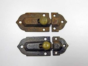 Two Early Victorian Cupboard Latches Cast Iron, Brass Knobs, complete 1860  445-227