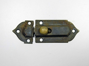 Early Victorian Cupboard Latch Cast Iron, Brass Knob, Working Complete 1860  445-228