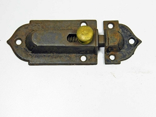 Early Victorian Cupboard Latch Cast Iron, Brass Knob, Working Complete 1860  445-229