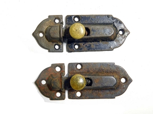 Two Early Victorian Cupboard Latches Cast Iron, Brass Knobs, complete 1860  445-230