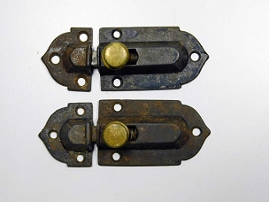 Two 1860 Cupboard Latches Cast Iron, Brass Knobs, complete   445-235