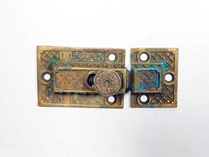Single Ornate Antique Cupboard Latch Cast Bronze, Working, Complete 1870  445-242