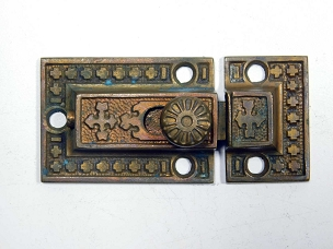 Single Ornate Antique Cupboard Latch Cast Bronze, Complete 1870 R & E Signed  445-243