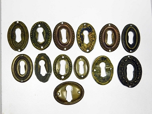 13 Assorted Period Oval Key Escutcheons Wrought Brass Early 1800's Furniture  445-244