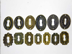 13 Assorted Period Key Escutcheons Wrought Brass Early 1800's Varied Shapes  445-245