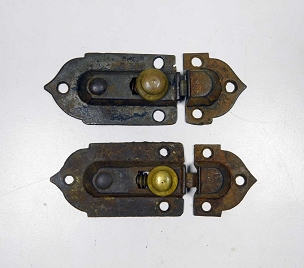 Two Early Victorian Cupboard Latches Cast Iron, Brass Knobs, complete 1860  445-247