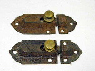 Two Early Victorian Cupboard Latches Cast Iron, Brass Knobs, complete  Circa 1860  445-248