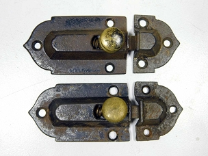 Two Early Victorian Cupboard Latches Cast Iron, Brass Knobs, complete 1860  445-249