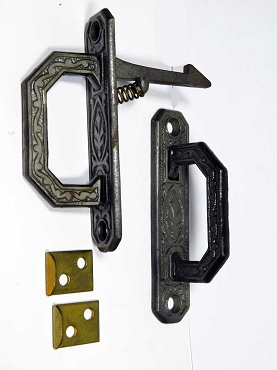 Pair Victorian Handle Style Cupboard Latches Ornate Cast Iron, 445-252
