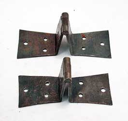 Pair Off-set Dovetail Wrought Iron Door Hinges, Circa 1800  500-287