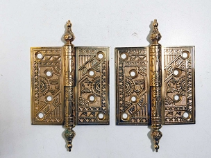Antique Pair Ornate Cast Bronze Lift-Off Hinges 4