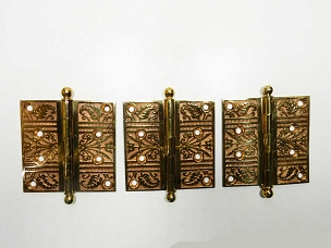 Set of 3 Antique Ornate Cast Bronze Loose Pin Hinges 4
