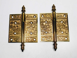 Pair of Antique Ornate Cast Bronze Loose Pin Door Hinges 4 1/2