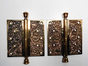 Antique Ornate Cast Bronze Lift-off Hinges, Columbian Reading Hardware  RH 500-304