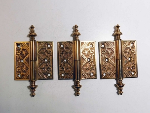 Antique Set of 3 Ornate Cast Bronze Lift-Off Hinges 3 1/2