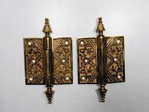 Pair of Antique Ornate Cast Bronze Loose Pin Door Hinges 3 1/2