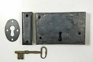 Early 1800's Wrought Iron Rim Dead Bolt, Restored, Complete 600-906