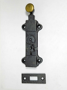 Unusual Antique Cast Iron Foot Bolt, Circa 1870,  600-915
