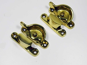Pair Antique Window Sash Locks, Cast Brass, Circa 1920 Complete  641-084