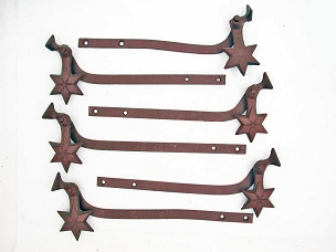 3 Pair Cast Iron Star Exterior Shutter Dogs, Cleaned & Primed  641-087