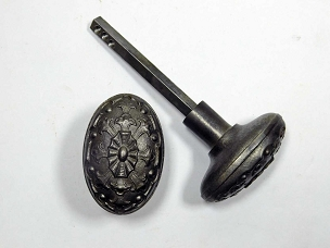 Ornate Victorian Oval Door Knobs, Cast Iron  997-859