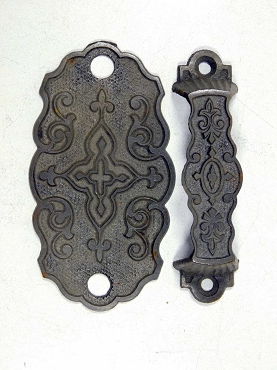 Four Matching Victorian Era Ornate Cast Iron Two Piece Handles Pulls Circa 1880  445-207