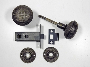 Antique Passage Latch by Sargent & Co. Complete Ornate Cast Iron, 1890  200-879
