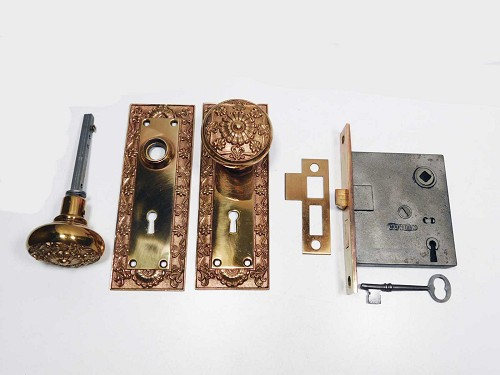 Corbin mortise lock set 1895 bronze trim