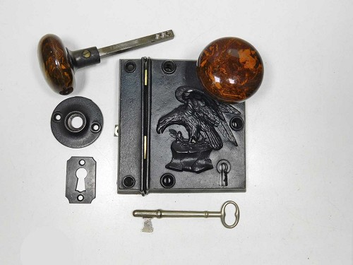 Russell Erwin Eagle Rim lock, Patented 1858, Complete