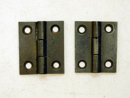 "Antique cast iron butt hinges 1 3/4"" high"