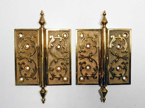 One pair circa 1875 ornate cast bronze door hinges