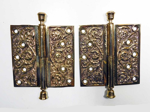 "5 1/2"" lift-off ornate bronze hinges, 1880"