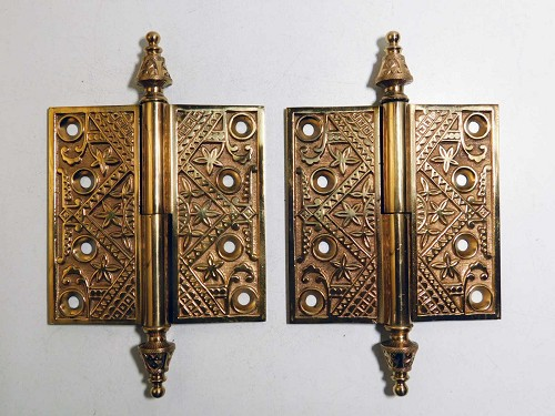 Pair ornate Victorian bronze door hinges