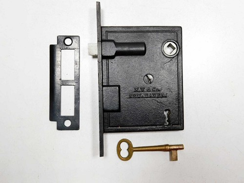 Rare very thin mortise lock with keeper & key