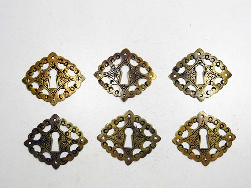 Set of 6 William and Mary key escutcheons